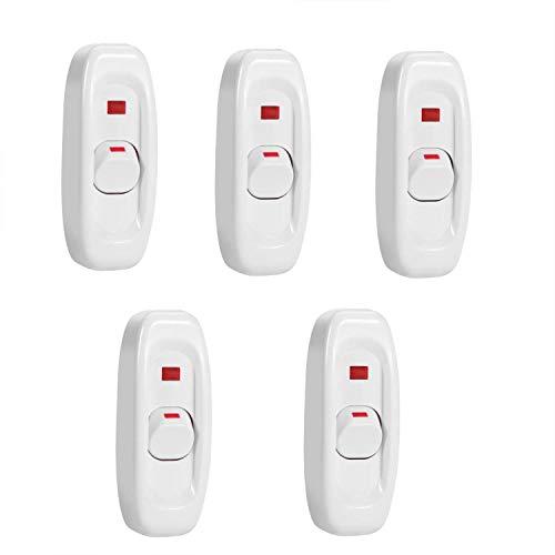 5er 250 V 10A Kompakte Kunststoff Auf und Zu Wippschalter Durchschleifschalter Rocker Toggle Led Schalter taste Kabel für Lichter Lampe Control Solder Lug Taste (Weiß)