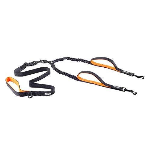 Floxik Doppelleine Komplett-Set klein   Flexible, reflektierende Premium Hundeleine für Zwei Hunde zum Koppeln mit Kurzhalter