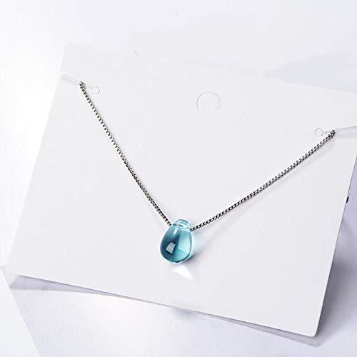 Dfgh Literaire Blue Crystal Water Drop Hanger kettingen for vrouwen Korte sleutelbeen keten Choker 925 sterling zilveren sieraden Girl (Color : 001)