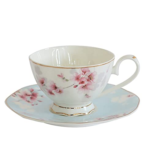 AHAI YU Taza de Latte Art Taza y platillo de café de Sakura, Taza de té británica de té y platillo, Estilo Europeo, pequeño Exquisito Exquisito Juego de Lujo (200 ml), jardín o Fiesta de té por