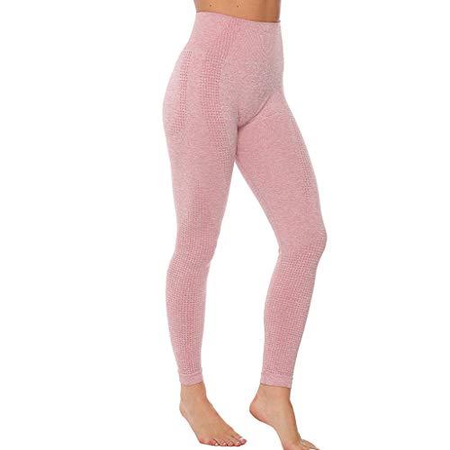 WOZOW Pantalon Pure Color Hip Lifting Seamless Elasticity Running Yoga Pants Gym Leggings Power Stretch Taille Haute Femmes en Cours D'exécution D'entraînement(Rose,M)