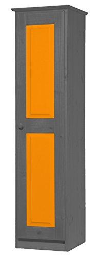Vicenza Una Porta, Armadio in Pino Massiccio Colore: Grafite & Colore: Arancione