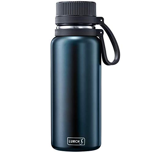 Lurch 240970 Outdoor Isolierflasche / Thermoflasche für heiße und kalte Getränke aus doppelwandigem Edelstahl 0,5l, night blue