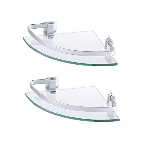 Umi. por Amazon Estante de Baño Canasta de Ducha de Esquina Organizador de Almacenamiento Colgante Aluminio Soporte de Pared de 8 MM Vidrio Templado Paquete de 2, A4120A-P2
