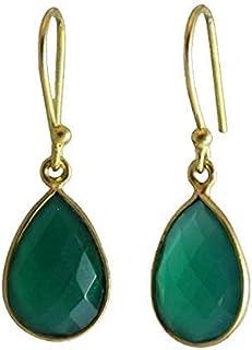 Large green onyx earrings  Gold green onyx earrings  Green onyx jewellery  Gift for her