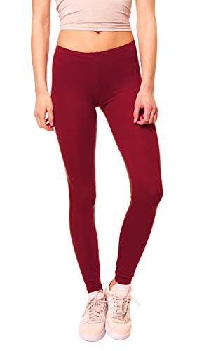 Easy Young Fashion Damen Basic Viscose Jersey Leggings Leggins Lang Uni Einfarbig One Size Bordeaux