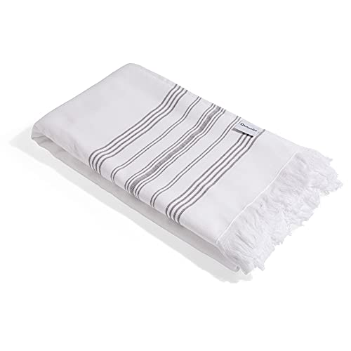 InfuseZen Terry Cloth Lined Turkish Towel - 100% Cotton - Hammam Fouta Towel Lightweight Pool, Gym, Travel Towel - Thin & Absorbent Peshtemal with Terry Back - Beach Bath Towels (Grey)