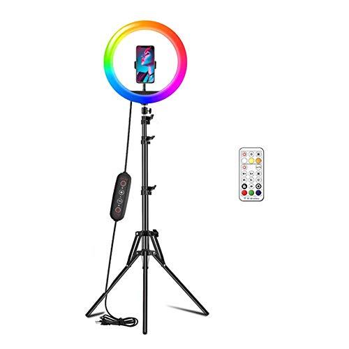 SANGSHI Anillo de luz con trípode y mando a distancia, 10 pulgadas RGB LED Selfie Ring luz de maquillaje Video lámpara para YouTube TikTok Self Retrato de la grabación de vídeo