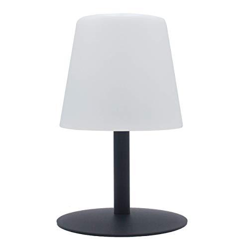 da tavolo da giardino, luce bianca, senza fili, con batteria Standy Mini Rock a LED, 26 cm, ABS Acciaio, grigio, 15x15xH26