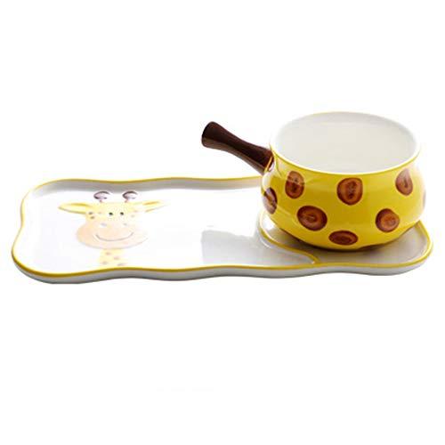 JIASHIQI Juego de vajilla de cerámica para niños, Cuenco de arroz para el hogar, Plato de Cena, Cuenco de Desayuno, Ensalada, Pasta, horneado (Color : Yellow, Size : 2-Piece)