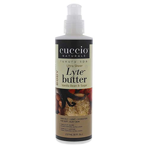 Cuccio Naturalé Lyte Vanilla Bean & Sugar Ultra Sheer Butter - Non-Oily Cream - Hand, Body, Feet - Comfort & De-Stress - Paraben/Cruelty Free, w/ Natural Ingredients/Plant Based Preservatives - 8 oz