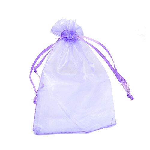 Rocita 100 bolsas de organza para regalo de boda, color morado
