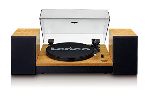 Lenco LS-300 - Hi-Fi Plattenspieler mit Bluetooth - Mit externen Lautsprechern 2 x 10 W RMS - Riemenantrieb - Auto-Stopp - MDF-Gehäuse - Holz