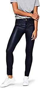 Amazon-Marke: find. Damen Skinny Fit-Hose mit Ledereffekt, Schwarz (Black), 46, Label: 3XL