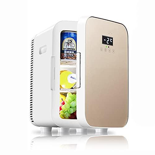 Mini nevera 13.5L para Enfriar y Calentar, Mini Refrigerador portátil 12 V/220 V para Coche y Casa, Mini-Frigorífico Termoeléctrica Nevera con panel de control de temperatura Golden,Dual-core