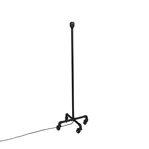 QAZQA Industriële verrijdbare vloerlamp zwart zonder kap - Wheels Staal Langwerpig Geschikt voor LED Max. 1 x 40 Watt