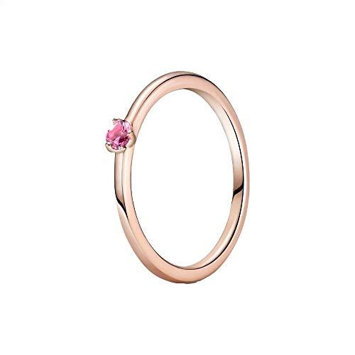 PANDORA Solitaire 189259C03 - Anillo para Mujer, Color Rosa, Metal Precioso, Crystal,