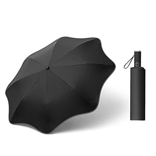 Creative Lace Paraguas automático Tri-plegable Tira reflectante redondeada Protector solar Protección UV Sol y lluvia Paraguas de doble uso-Negro (Tira reflectante de vinilo) _23 pulgadas * 8K