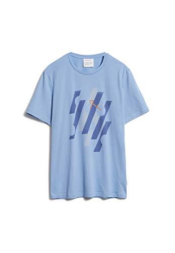 ARMEDANGELS JAAMES GEO Bike - Herren T-Shirt aus Bio-Baumwolle M Washed Sky Blue Shirts T-Shirt Regular fit