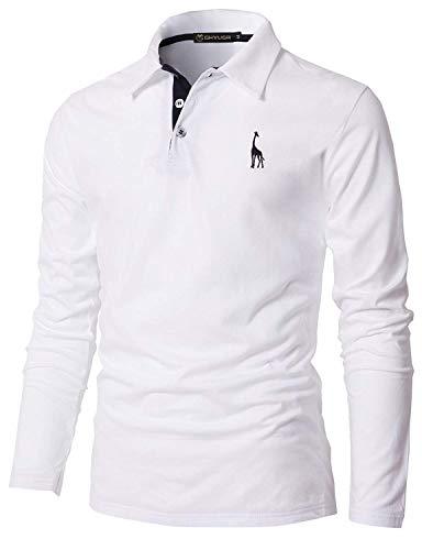 GHYUGR Poloshirt Herren Langarm Golf T-Shirt mit Fashion Giraffe Stickerei Polos,Weiß,XXL