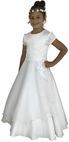 deine-Brautmode Kommunionkleid Spitze Perlen Kleid Kommunion, Lisa 128