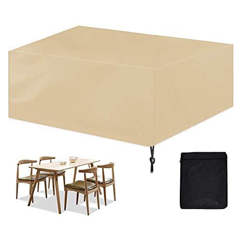 GAOANMO Fundas de Muebles, Cubierta de Muebles de Mesas Rectangular, 420D Oxford Cubierta de Exterior Impermeable, para Sofa de Jardin Patio al Aire Libre Funda para Mesa y Sillas