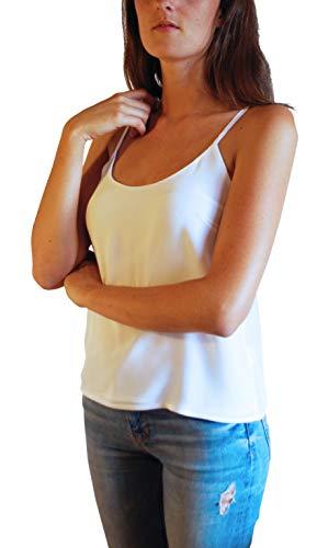 Posh Gear Damen Seidenbluse Estivoseta Bluse aus 100% Seide, weiß, Größe XS
