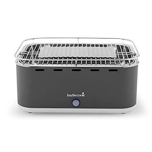 barbecook Rauchfreier Holzkohlegrill Tischgrill mit Tragetasche geeignet für Balkon als Outdoor Camping-Grill mit eingebauten Gebläse, spülmaschinen-fest, Grau