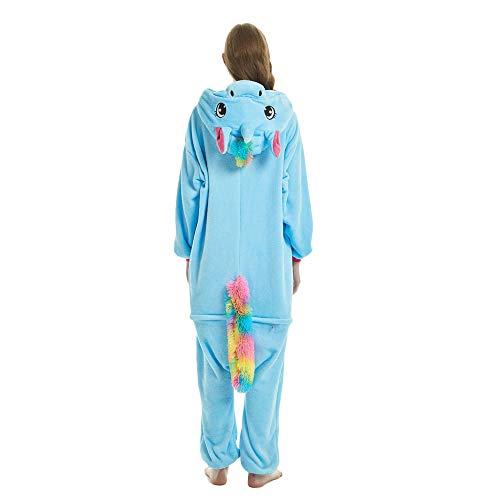 KiKa Monkey Niños Unicornio de Dibujos Animados de Franela Animal Novedad Disfraces Cosplay Pijama (S, Azul)