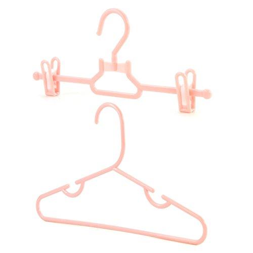 Hangerworld Set de 20 Perchas 30cm para Niños con y Sin Pinzas Plástico Rosa Pantalones y Faldas