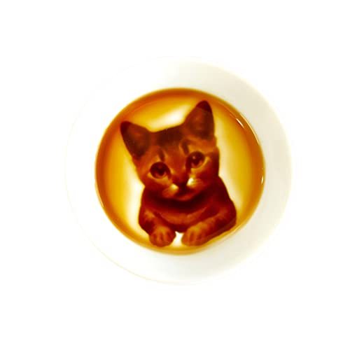 Kitten Relief Seasoning Dish, Made in Japan, Soy Sauce Dish, Sushi Dipping Plate, 3 x 3 inches, White Porcelains