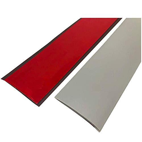 Übergangsprofil selbstklebend Vinyl Übergangsschiene flach | 200 x 5 cm | Bodenprofil Schiene Laminat - Fliesen - Parkett | Ausgleichsprofil | Bodenprofil Tür Übergangsschiene -Türschwelle