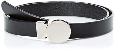 NYDJ Women's 100% Leather Slim Skinny Waist Dress Belt for Jeans Pants, Casual Black, Large