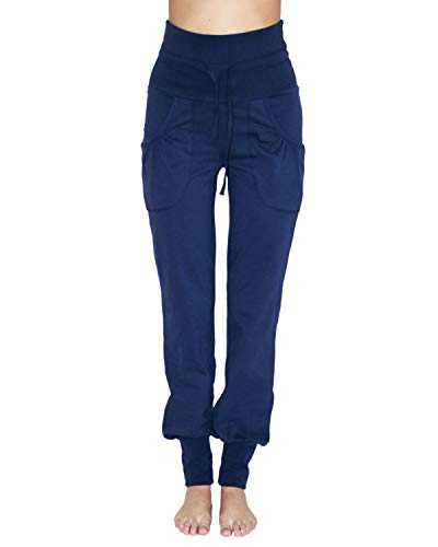 Leela Cotton Pantalones de yoga de algodón orgánico y elastano para mujer. azul oscuro L