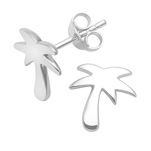 Heather Needham Sterling Silver Palm tree Earrings - SIZE: 9mm x 9mm. Highly polished.5254 Gift Boxed 5254