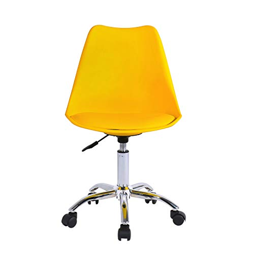 Desk Chair for Home Office Swivel Adjustable Height Office Chair Ergonomic Plastic Chair Simple Chair without Arms(Yellow, Plastic)