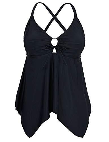 Firpearl Women's Black Flowy Swimsuit Crossback Plus Size Tankini Top US20 Black