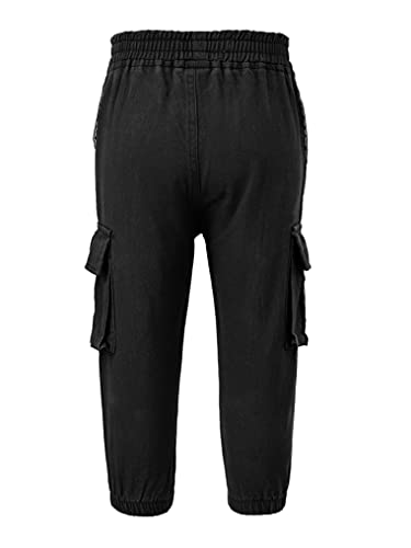 YUUMIN Boys Cargo Hip Hop Streetwear Trousers Youth Active Jogger Hiking Climbing Convertible Bottoms Pants Outdoor Black 7-8 Years