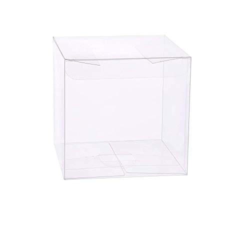 tooloflife 10 x 10 x 10 cm Trasparente Scatola di Caramelle in PVC plastica Confezione Regalo scatole bomboniera Dolce 10 Pezzi