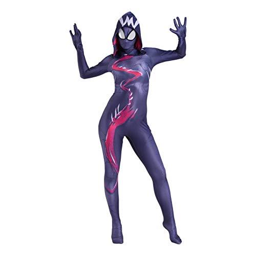 ZYZQ Spider-Man 3D Fancy Dress Traje, The Avengers Cosplay Body's Body's Halloween Carnival Jumpsuit, Pelcula Tema Partido Disfraz Sujetos Onesies Traje,Black-Kids~M110~120cm