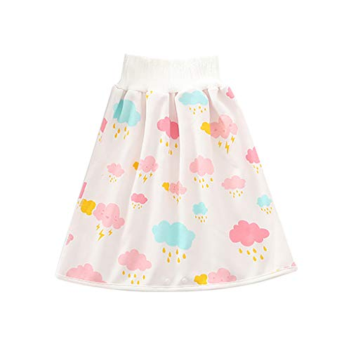 WooCo Comfy Casual Children's Diaper Skirt Shorts,Anti Bed-Wetting Waterproof Clothes for Baby Boy Girl Night Time Pink