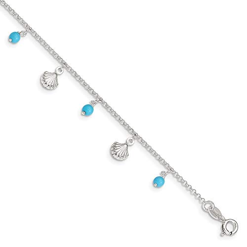 Ryan Jonathan Fine Jewelry Sterling Silver Shell and Turquoise Anklet Chain, 9' +1' Extender