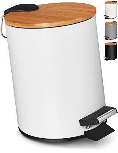 VMbathrooms 3L Kosmetikeimer in edlem weißem Design/Tretmülleimer mit Absenkautomatik (Soft Close) / Eleganter Eimer fürs Bad mit Innenbehälter & Bambus-Holzdeckel