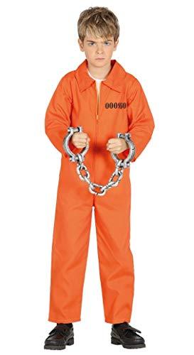 Guirca Sträfling Kostüm für Kinder Jungen Overall Gefängnis Gefangener Halloween Knasti Gr. 98-146, Größe:140/146
