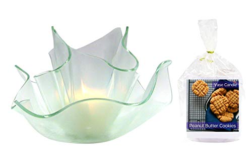 Peanut Butter Cookie Clear Satin Vase Dish Set | 2 Premium Soy Paraffin Wax Blend Candle Refills | 100 Hour Total Burn Time | Highly Scented | Self-Trimming Wick | Fresh Poured