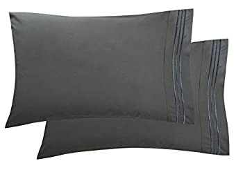Luxury Ultra-Soft 2-Piece Pillowcase Set 1500 Thread Count Egyptian Quality Microfiber - Double Brushed - Fade Resistant - Wrinkle Resistant Standard Size Grey