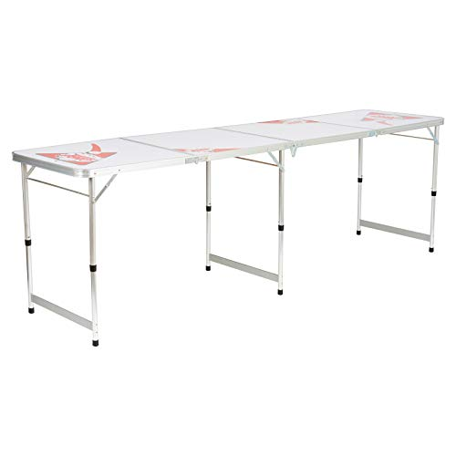 Hartleys Table de Beer Pong Pliable en Rouge & Blanc - Structure Aluminium en 4 Sections avec une Surface Facile à Nettoyer