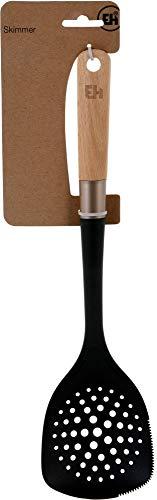 Excellent Houseware Schaumlöffel 37 cm - mit Schneide - Kochen ohne Kratzer, aus Nylon & mit Holzgriff