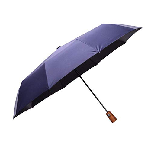 ZHANGYY Travel Umbrella Automatic Solid Wood Handle Three Folding Men's Business Creative Sunny Umbrella Windproof Reinforced Sun Umbrella