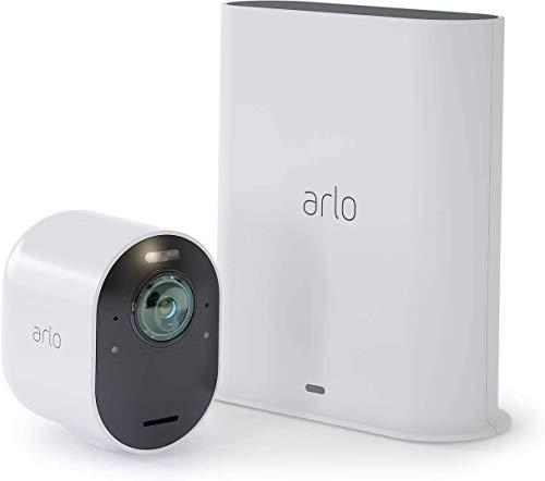 Arlo Ultra Überwachungskamera & Alarmanlage, 4K UHD, 1er Set, Smart Home, kabellos, Innen/Außen, Farbnachtsicht, 180 Grad Blickwinkel, WLAN, 2-Wege Audio, Spotlight, Bewegungsmelder, (VMS5140) - Weiß